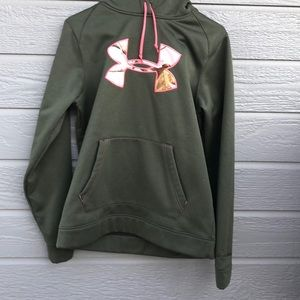 Under Armor semi fitted pink camo Patch hoodie